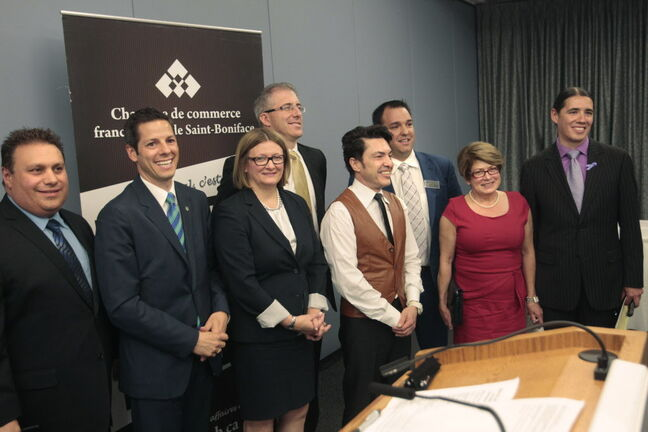 After taking part in the Chambre de commerce francophone de Saint-Boniface hosted mayoral debate Wednesday, from left Michael Vogiatzakis, Brian Bowman, Paula Havixbeck, Gord Steeves, Michel Fillion, chamber president and moderator Robert Tetrault, Judy Wasylycia-Leis and Robert-Falcon Ouellette.