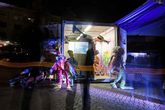 Evin Collis' installation Voyageur Express at The Forks during Nuit Blanche. (GREG GALLINGER / WINNIPEG FREE PRESS)