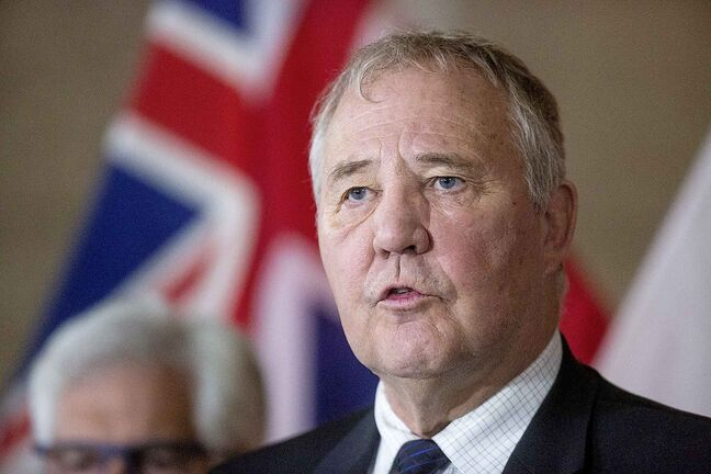 MIKAELA MACKENZIE/WINNIPEG FREE PRESS  Bill Blair, Minister of Border Security and Organized Crime Reduction responds to a question about illegal online cannabis stores at the Manitoba Legislative Building in Winnipeg on Friday, April 26, 2019. For Larry Kusch story.  Winnipeg Free Press 2019