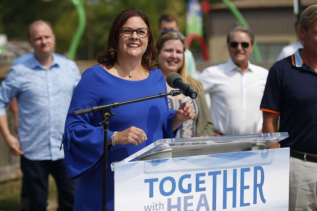 JOHN WOODS / WINNIPEG FREE PRESS PC MLA Heather Stefanson speaks at a press conference at South Winnipeg Community Centre in Winnipeg Wednesday, August 18, 2021. Stefanson announced that she will be running to be premier and leader of the Manitoba PC party.  Reporter: