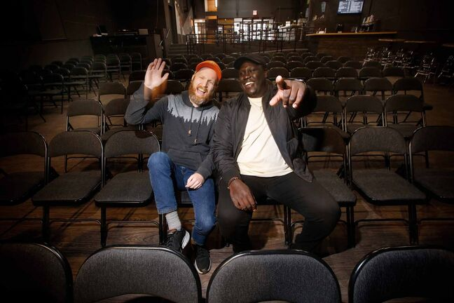 JOHN WOODS / WINNIPEG FREE PRESSJared Story, left, host and producer of the Winnipeg Comedy Showcase, and comedian Emmanuel Lomuro are photographed Tuesday, October 26, 2021 and will be laughing it up at the stand-up show this Saturday at the Park Theatre in Winnipeg. Reporter: Waldman