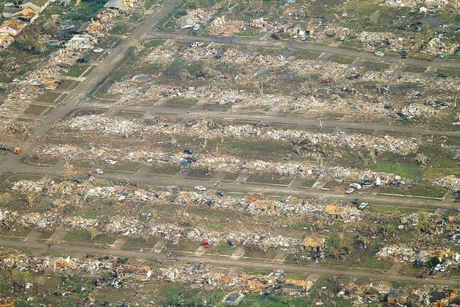 Entire neighbourhoods in Moore, Okla., were destroyed by the powerful EF5 tornado, as this aerial photo shows.