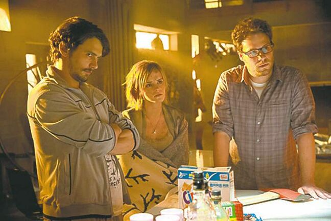 James Franco (left), Emma Watson and Seth Rogan star in Columbia Pictures� This Is The End.