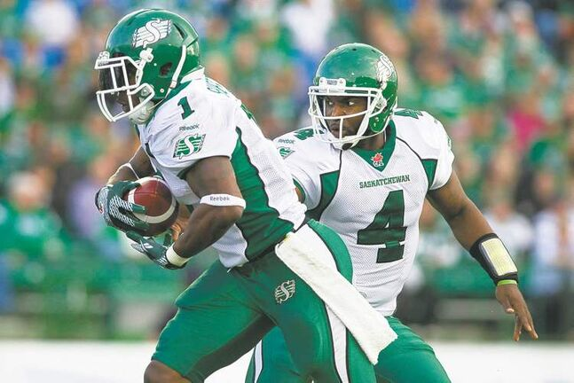 Quarterback Darian Durant (4) and running back Kory Sheets have helped lead the Saskatchewan Roughriders to a 2-0 record to start the 2013 CFL season.