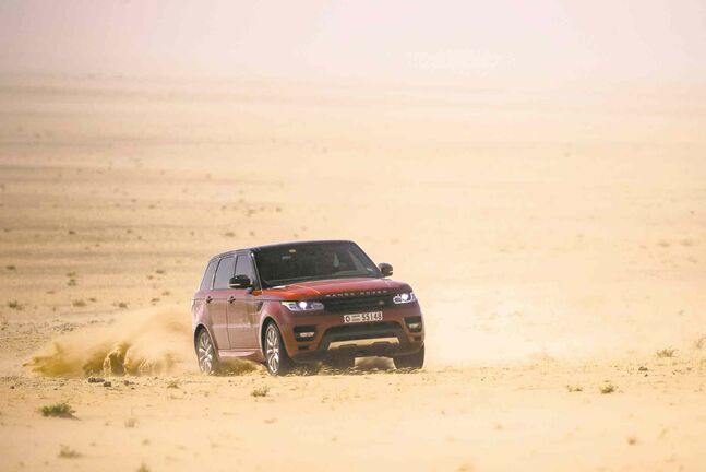 A Range Rover Sport crosses the 'Empty Quarter' or Rub' al Khali, the largest sand desert in the world and the second-largest desert after the Sahara. It is an incredibly harsh environment -- arid and intensely hot by day with temperatures exceeding 50C.