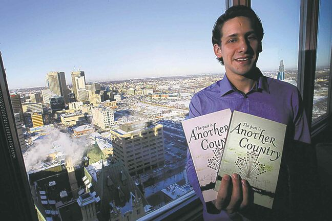 Gonzalo Agrimbau with copies of The Past is Another Country at Prairie 360.