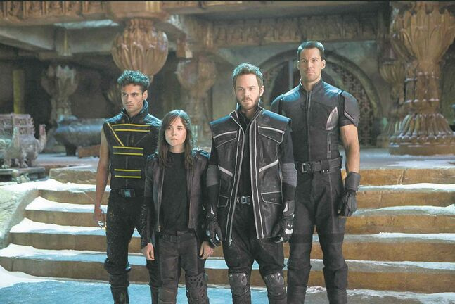 From left, Sunspot (Adan Canto), Kitty Pryde (Ellen Page), Iceman (Shawn Ashmore) and Colossus (Daniel Cudmore) prepare for an epic battle to save their kind.