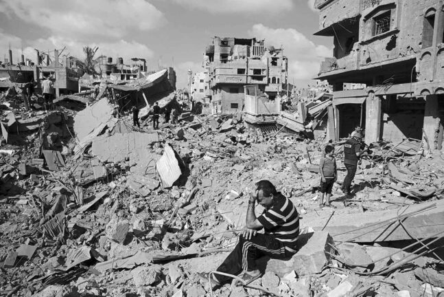 A man grieves at the site of his home this week in the Shejaiya neighbourhood of Gaza City that has seen some of the heaviest  bombardment by Israeli forces.