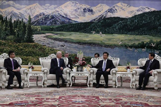 U.S Vice-President Joe Biden , centre left, talks with Chinese Vice-President Li Yuanchao, centre right, during their meeting at the Great Hall of the People in Beijing, China, Wednesday.
