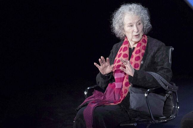 Author Margaret Atwood speaks during the ninth annual Women in the World Summit, Friday, April 13, 2018, in New York. It's the international literary event of the season, industry watchers say, and in a rare feat, the spotlight will be on a Canadian author. With Margaret Atwood's long-awaited sequel to 1985's