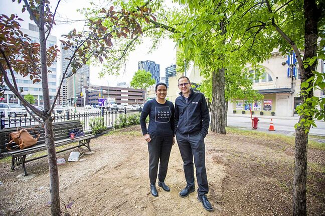 Downtown Winnipeg BIZ  spokesperson Tracey Umali (left) and True North SVP of Venues & Entertainment Kevin Donnelly in the future patio space in front of the Burton Cummings Theatre.