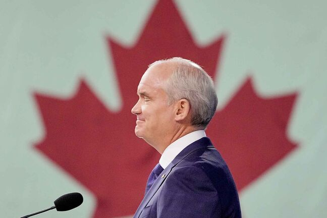 Conservative party leader Erin O'Toole speaks during the election night party, in Oshawa, Ontario, Canada, September 21, 2021.  (Mark Blinch / Reuters)