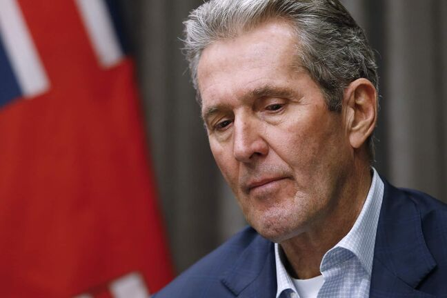 Manitoba Premier Brian Pallister answers media questions during a COVID-19 live-streamed press conference at the Manitoba legislature in Winnipeg Monday, March 23, 2020. THE CANADIAN PRESS/John Woods