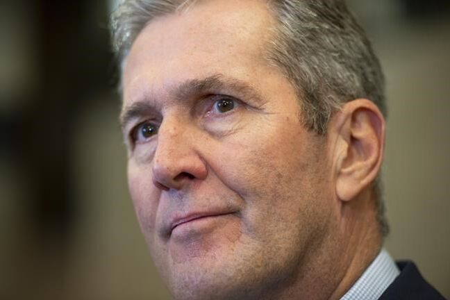 Manitoba Premier Brian Pallister speaks to reporters in Ottawa, on Friday, Nov. 8, 2019. Manitoba Premier Brian Pallister is hinting at a potential breakthrough with the federal government on a carbon tax. THE CANADIAN PRESS/Justin Tang