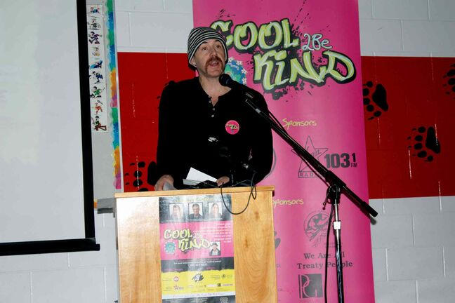 103.1 Virgin Radio morning show host Ace Burpee speaks at the Cool 2Be Kind funding presentations for kindness initiatives organized by local groups. The presentations were made on Nov. 19 at Kent Road School.