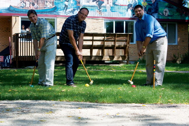 Knowles Centre CEO Michael Burdz, director of finance and administration Grant Obirek, and development co-ordinator Craig Ebbers are planning the annual Charity Croquet Classic, which will take place at Fort Gibraltar on Aug. 20.