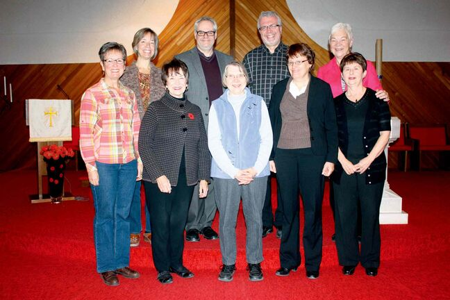 Members of the Community Prayer Planning Team, which is organizing an ecumenical service at St. Stephen's Anglican Church on Nov. 17, are shown. Front row: Pastor Sara Jane Schmidt (River East Mennonite Brethren Church), Diane Skalenda (Holy Redeemer Roman Catholic Church), Edith Treller and Rev. Dawn Ballantine-Dickson (John Black United Church), and Sharon Gray (St. Stephen's Anglican Church). Back row: Liz Gauthier and Rev. Marc Whitehead (North Kildonan United Church), Pastor Jack Dyck (Springfield Heights Mennonite Church), and Rev. Diane Guilford (St. Stephen's). Missing: Courtenay Reedman (Grace Lutheran Church) and Dan Nighswander (Jubilee Mennonite Church).