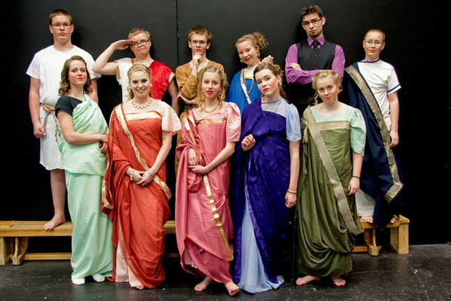 The cast of Immanuel Christian School's Tooth and Nail is shown.