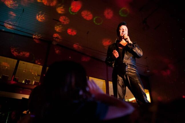 Adam Tarnowski performs as Adam T Elvis. Elvis impersonators performed for a full Gimli recreation centre, which comes less than a week before the 35th anniversary of Elvis's death.  COLE BREILAND / WINNIPEG FREE PRESS
