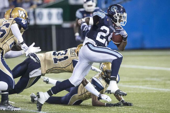Toronto running back Curtis Steele carved up the Winnipeg defence for 92 yards on 10 carries Tuesday night.