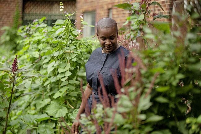 Federal Green Party Leader Annamie Paul walks through a community gardens in Toronto's Regents Park in August. THE CANADIAN PRESS/Chris Young