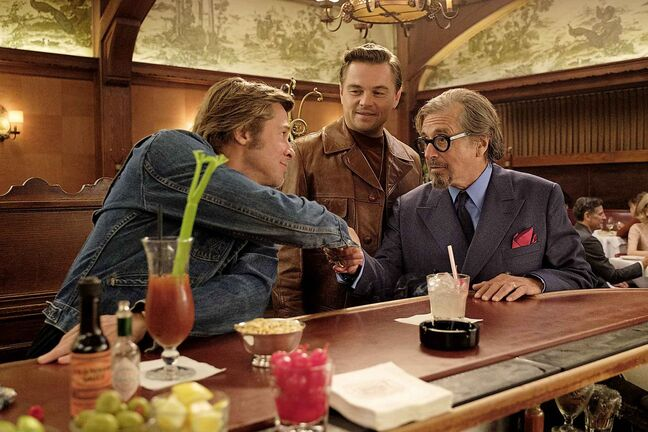 This image released by Sony Pictures shows Leonardo DiCaprio (from left), Brad Pitt and Al Pacino in Quentin Tarantino's