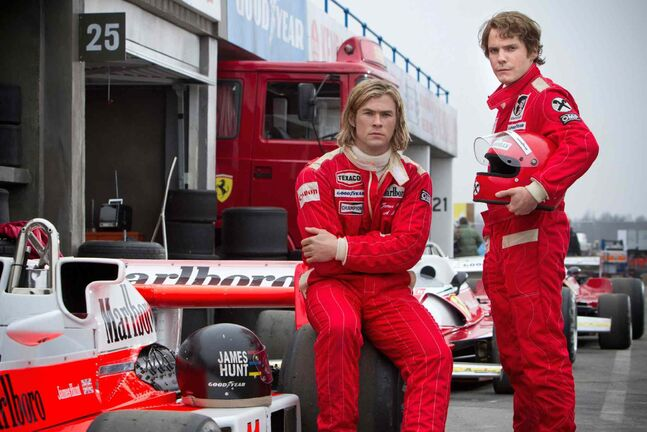 Chris Hemsworth, left, and Daniel Brühl in Rush.