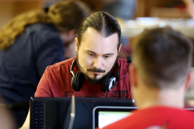 Anthony Dorge is one of more than 70 game developers participating in a Game Jam at ACI on McDermot Avenue, where they have 48 hours to bring their preliminary game ideas to life.