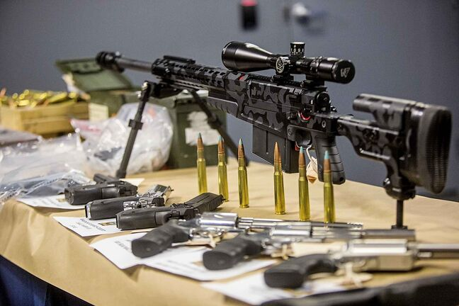 Guns from a firearms seizure at Winnipeg Police Headquarters in Winnipeg in 2019. Last year, 788 guns were seized by Winnipeg police in the course of criminal investigations.