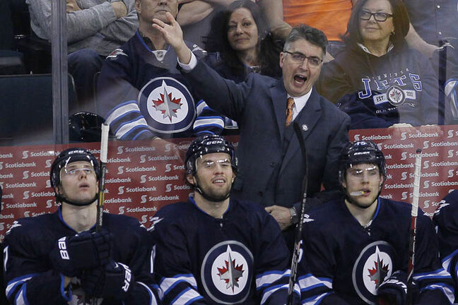 Winnipeg Jets' head coach Claude Noel continues to dispute a call during the third period.