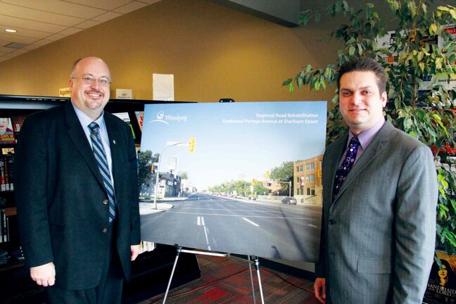 Coun. Jeff Browaty (North Kildonan) (right) is shown with Standing Policy Committee on Finance chair Russ Wyatt (left) at an announcement revealing plans to improve regional streets at Henderson Library on Dec. 2.