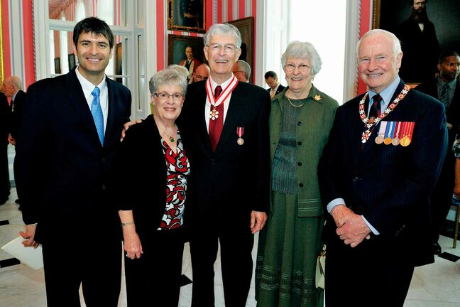 Central School graduate and broadcast television magnate John Ross (centre) is shown being named to the Order of Canada by Governor General David Johnston (right) in May 2013. Also pictured are Ross' son and current Ross Video Ltd. owner David (left), sister Anne Whyte (second from left) and wife Diane (second from right).