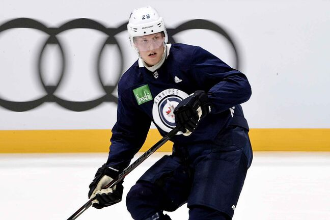 Winnipeg Jets forward Patrik Laine at team practice in Helsinki, Finland.