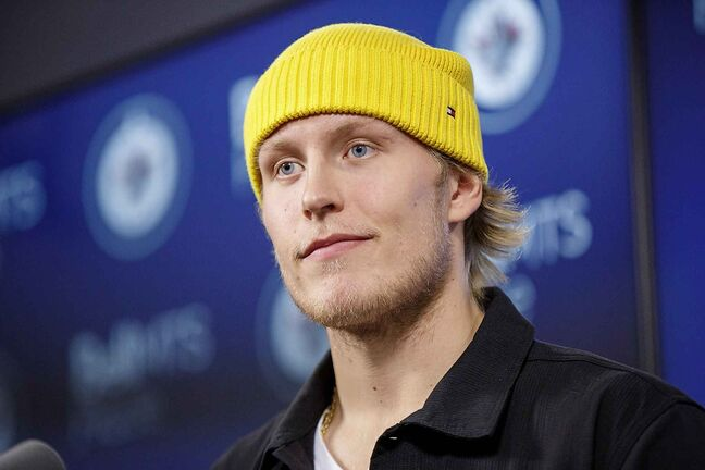 Winnipeg Jets' Patrik Laine speaks to the media Monday morning at Bell MTS Place about his new contract that will pay him an average salary of US$6.75 million per season, for the next two years.