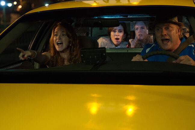From left, Sarah Drew, Patricia Heaton, Abbie Cobb and David Hunt show that the best acting is reacting.