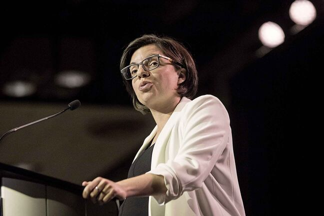 Leadership contender Niki Ashton speaks at the NDP's Leadership Showcase in Hamilton, Ont. on Sunday September 17 , 2017. THE CANADIAN PRESS/Chris Young