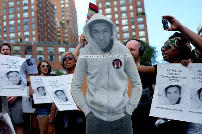 Activists in New York on July 14 protest the acquittal of George Zimmerman.