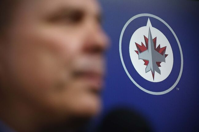 Winnipeg Jets Executive Vice President & General Manager Kevin Cheveldayoff speaks to media at the closing press conference after losing in the first round of the NHL playoffs in Winnipeg on Monday, April 22, 2019. THE CANADIAN PRESS/John Woods</p>