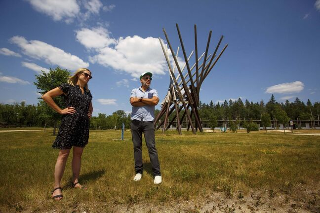 Folk Festival executive director Lynne Skromeda and artistic director Chris Frayer at the Birds Hill Park site where thousands of people would normally be this weekend. (Mike Deal / Winnipeg Free Press)