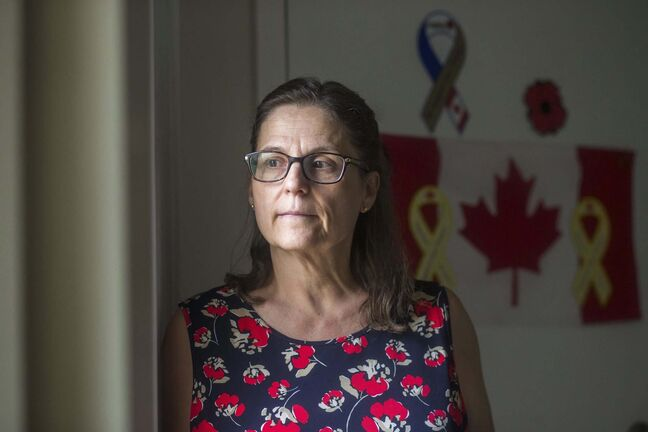 MIKAELA MACKENZIE / WINNIPEG FREE PRESS</p><p>Anita Cenerini, mother of Pte. Thomas Welch, poses for a portrait in her home in Winnipeg on Wednesday, Aug. 18, 2021. She has mixed feelings over the fall of Afghanistan to the Taliban. For Erik story.Winnipeg Free Press 2021.</p>