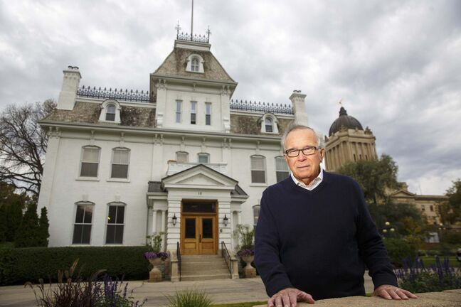 Former premier Gary Filmon outside Government House, in the shadow of the Manitoba Legislature, where he lives with his wife Janice, the current Lieutenant Governor of Manitoba. (Mike Deal / Winnipeg Free Press)