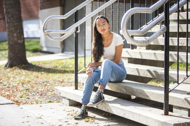Miyawata Stout, a Kelvin High School student, says her sense of hope for the future is inspired by her grandmother. 'She had hope — that's how she survived the residential schools. It is hope and it is strength which creates resiliency.'</p>