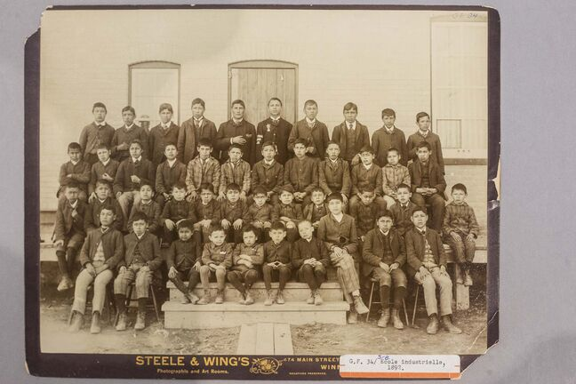 An 1892 photo of boys at the St. Boniface Industrial School, which taught First Nations students from across Manitoba manual trades and academics. (Mikaela MacKenzie / Winnipeg Free Press files)