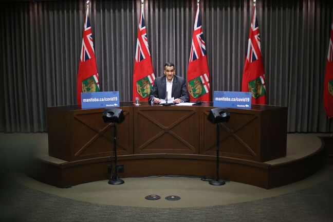 MIKE DEAL / WINNIPEG FREE PRESS Dr. Jazz Atwal, acting deputy chief provincial public health officer, duringthe COVID-19 update at the Manitoba Legislative building Friday afternoon. 210416 - Friday, April 16, 2021.</p>