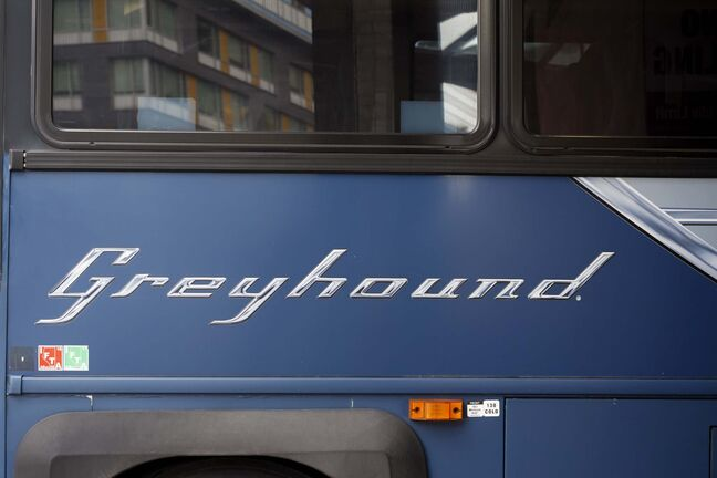 <p>Greyhound Bus in Toronto, Ontario, Friday.</p>