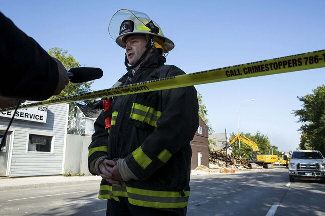 Assistant fire chief Jason Shaw speaks to media about the department's use of a drone to aid firefighting. (Andrew Ryan / Winnipeg Free Press)</p>
