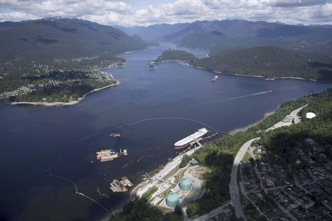 A aerial view of Kinder Morgan's Trans Mountain marine terminal, in Burnaby, B.C. (Jonathan Hayward / The Canadian Press files)</p>