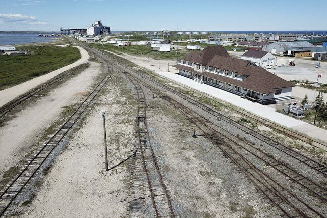An aerial view of the rail line and Via station is shown in Churchill, Manitoba, Wednesday, July 4, 2018. The closure of the port and the rail line has resulted in economic hardship in the community. THE CANADIAN PRESS/John Woods</p>