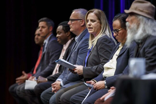 MIKE DEAL / WINNIPEG FREE PRESS</p><p>Jenny Motkaluk at Thursday's mayoral forum.</p>