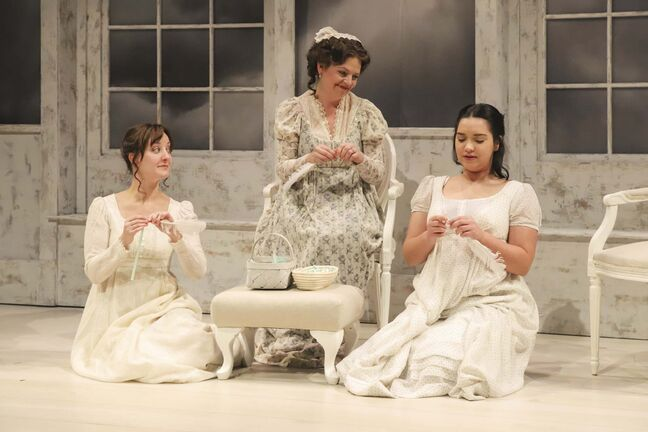 Heather Russell, Sharon Bajer and Julie Lumsden in Sense and Sensibility.